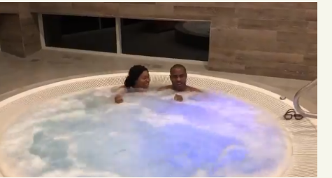 Couples having sex in pool