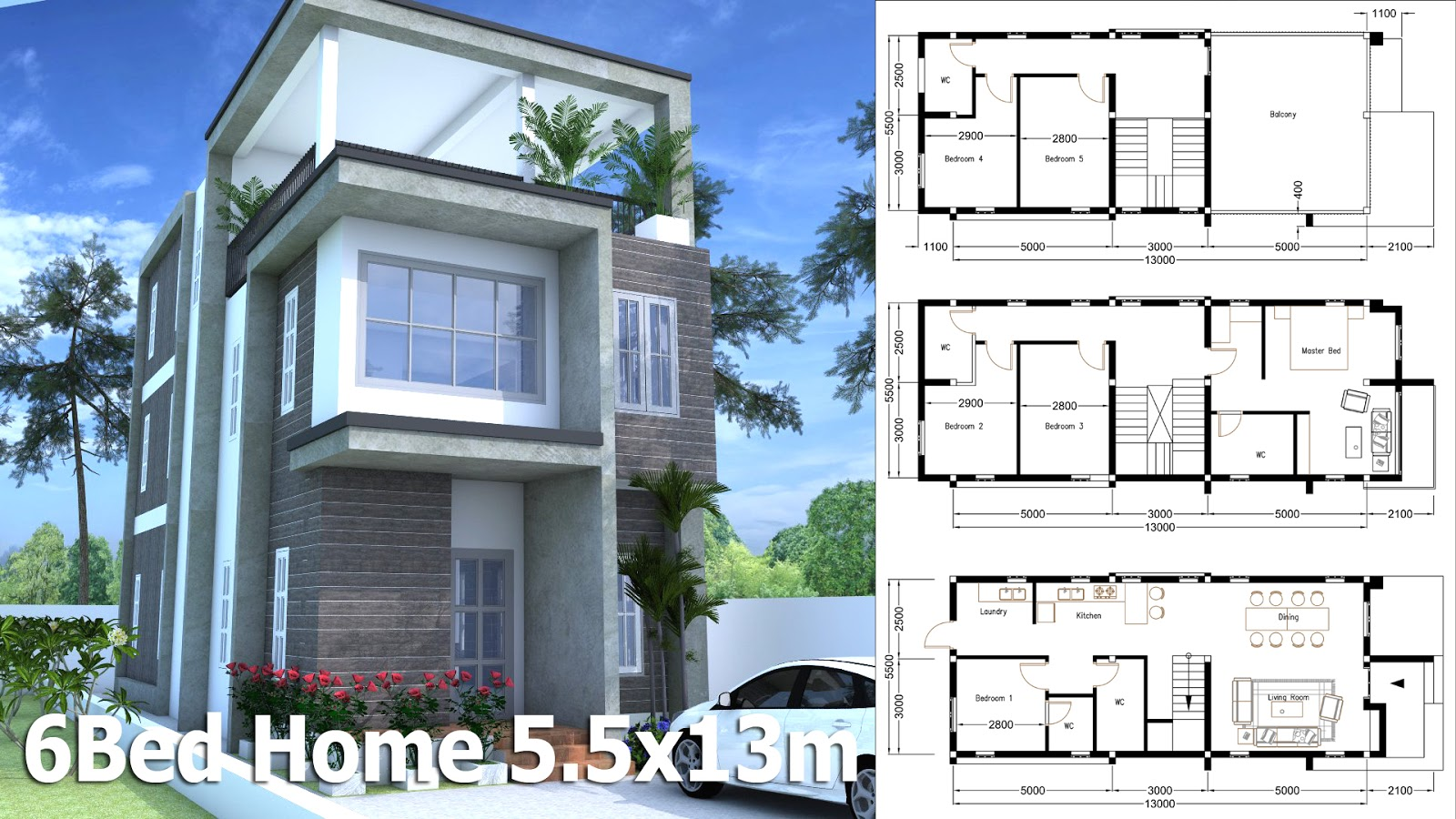 SketchUp Modern Home Plan 5.5x13m With 6 Bedroom - House ...