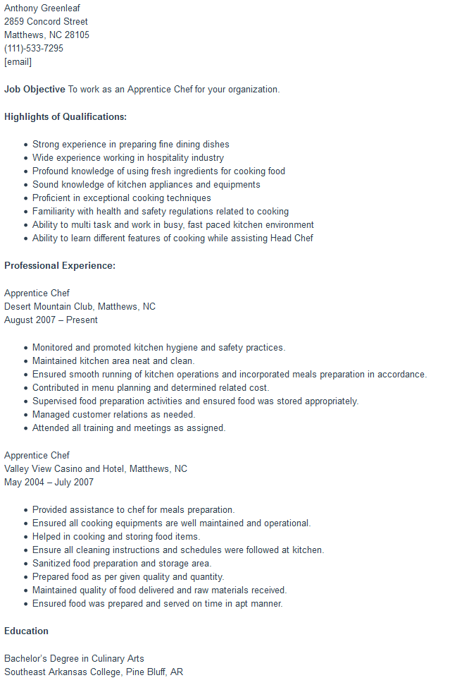 Apprentice Chef Resume Sample | Free Word Format - Best Free Templates