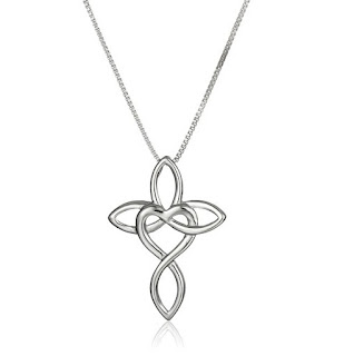 Rhodium Plated Sterling Silver Infinity Pendant Necklace $19
