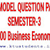 Model Question Paper For HS200 BUSINESS ECONOMICS