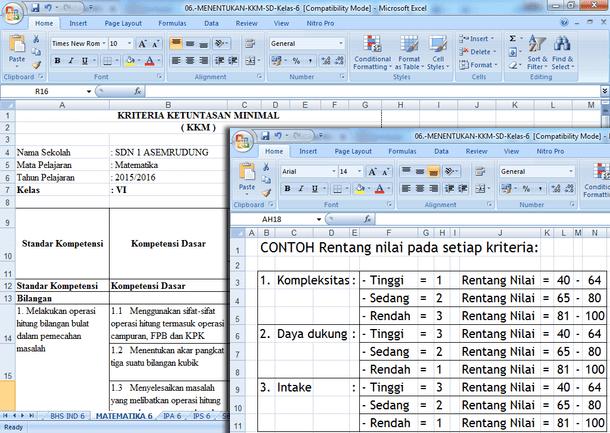 Menentukan Nilai KKM SD Kelas 1 2 3 4 5 6 dengan Format Microsoft Excel