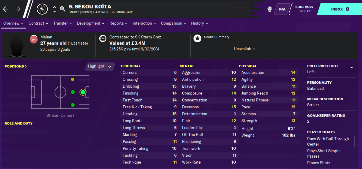 Sekou Koita: Attributes in 2027 season