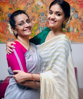 Keerthy Suresh with Cute and Awesome Lovely Smile with her Mother
