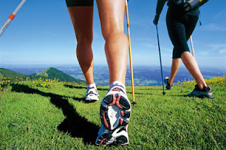 Hiking with Nordic poles can lessen the impact on your pelvic floor