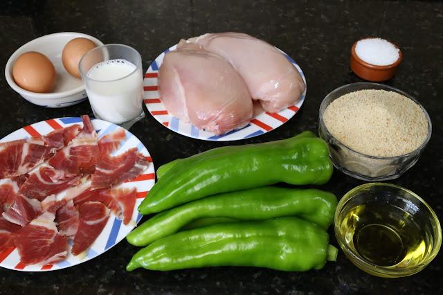 Ingredientes para pechuga de pollo rellena de pimiento y jamón