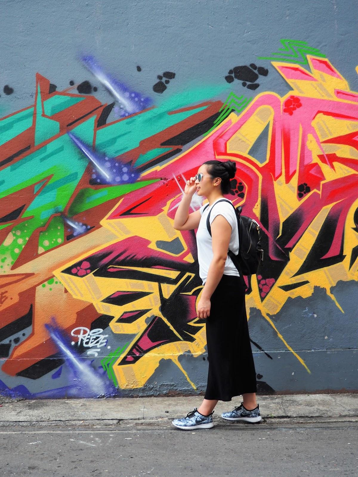 Malaysia Kota Kinabalu Graffiti Sreet art maxi dress