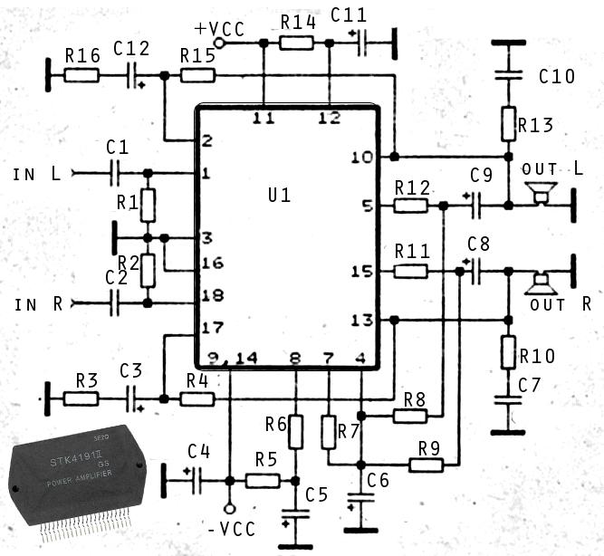 2 X 50W ICs amplifier with STK4191 Power Amplifier