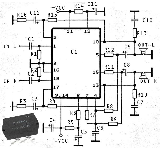 Wiring & diagram Info: 2 X 50W ICs amplifier with STK4191
