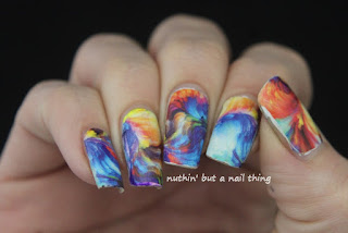 full nail water decal oil painting design idea
