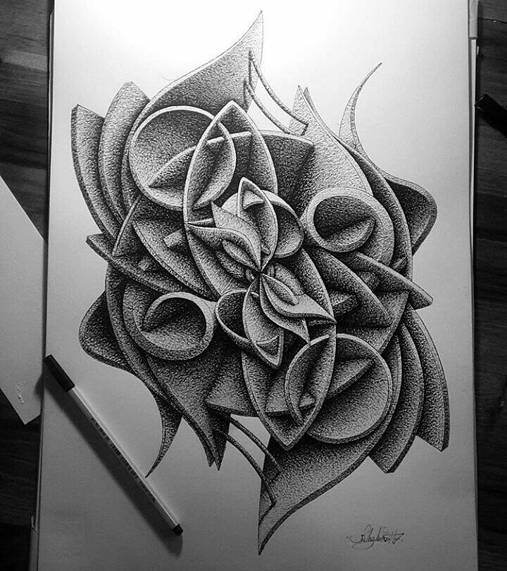 11-in-my-mind-art-Complex-Geometric-shapes-in-Ink-Stippling-Drawings-www-designstack-co