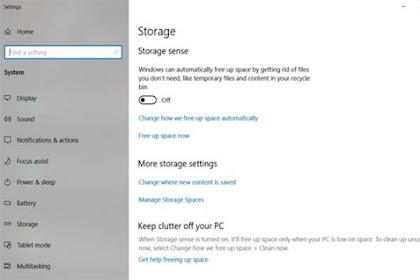 Apa Fungsi Storage Sense Pada Windows 10 October 2018 Update?