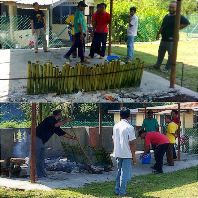 membakar lemang - Majlis Rumah Terbuka Aidilfitri Surau Muhajirin