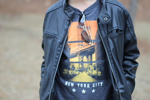 Cool kid style, leather jacket, aviator sunglasses