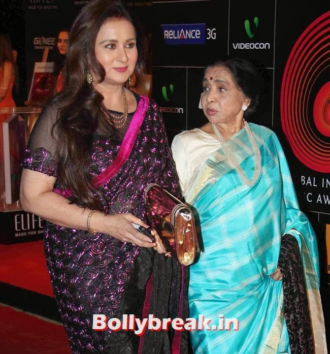 Poonam Dhillon and Asha Bhosle, Global Indian Music Awards 2014 Pics