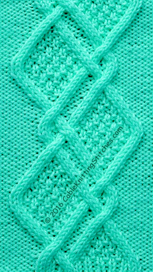 Cable Knitting Stitches Patterns : Cable Panel 17: Double Moss Stitch Diamonds Cable Knitting Stitches