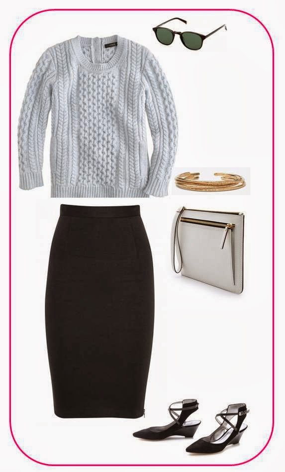 J.Crew sweater, Alice + Olivia skirt, Warby Parker sunglasses, Another Feather bracelet, Rebecca Minkoff clutch and Sigerson Morrison heels