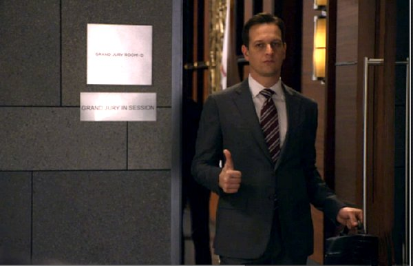 The Good Wife - Will stands in Grand Jury room doorway with thumb's up
