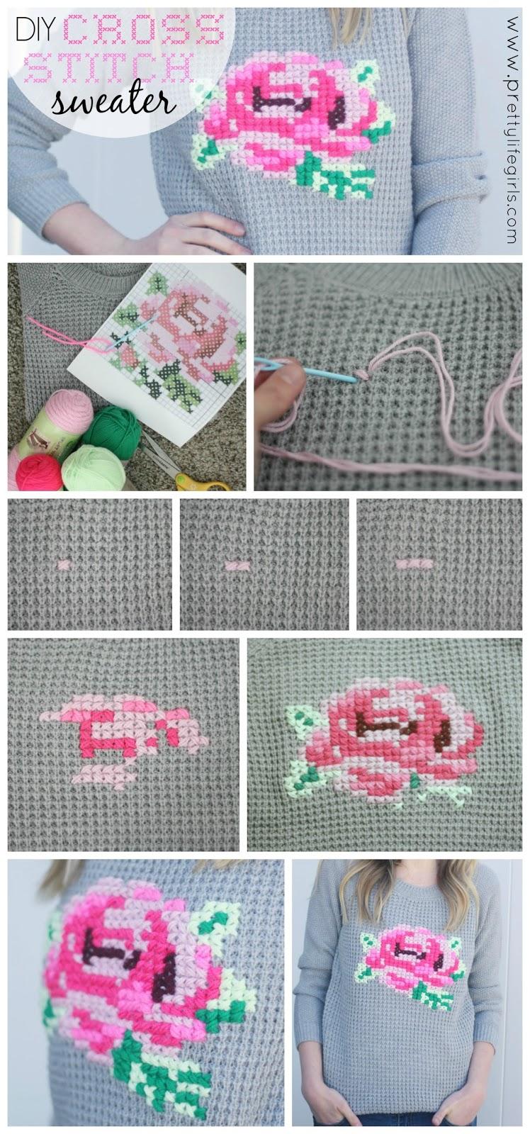 DIY Cross-Stitch Sweater - The Pretty Life Girls