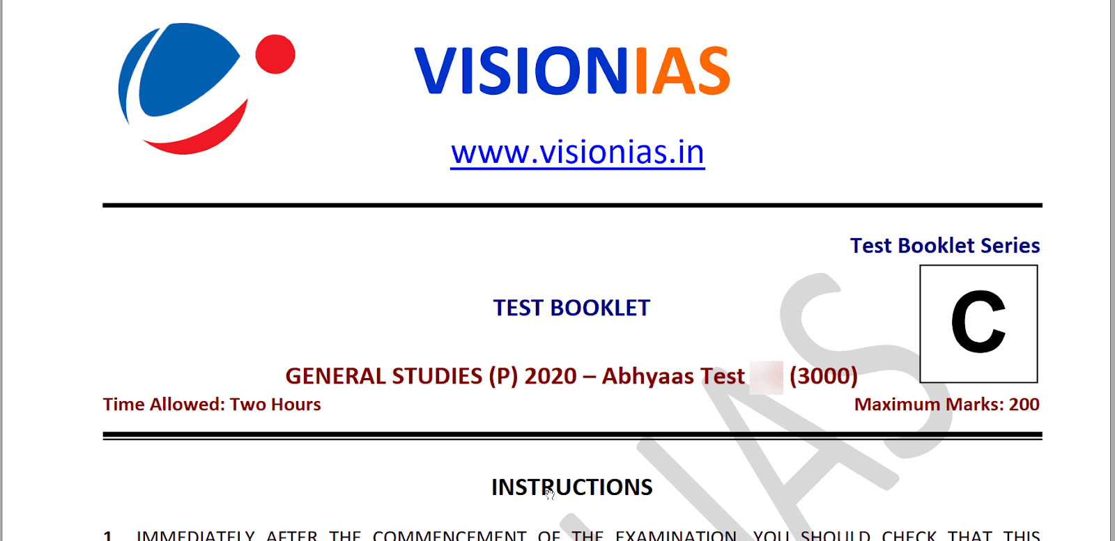 Vision IAS Prelims Test Series in Hindi