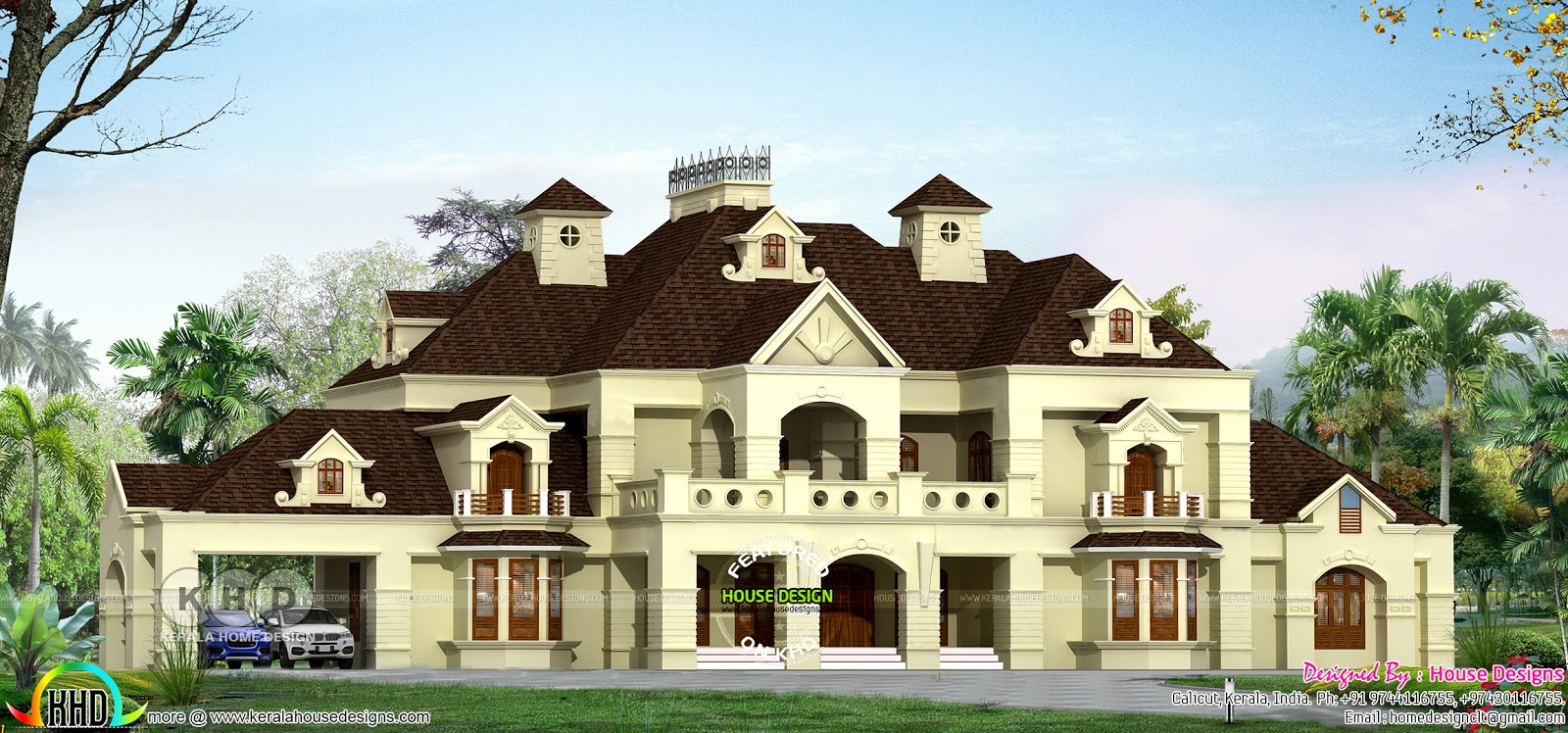 Luxury colonial style 6 bedroom home architecture kerala for Colonial luxury house plans