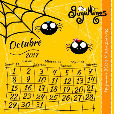 Calendario Mes de Octubre 2017, Pareja de Arañitas, Guyuminos