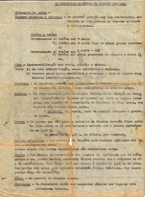 Ministério da Educação e Saúde: especificações para construção de hospitais colônias de doentes mentais, p.2.
