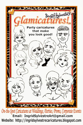 Glamicatures - flattering fun caricatures by Ingrid Sylvestre North Yorkshire, Harrogate, Northallerton, Knaresborough, Ripon, York, Thirsk, Easingwold, Richmond, Pickering, Helmsley, Darlington, Teesside, County Durham, Newcastle, Northumberland Caricaturist Weddings, Caricaturist Corporate Events, Caricatures Parties, Conferences Caricatures