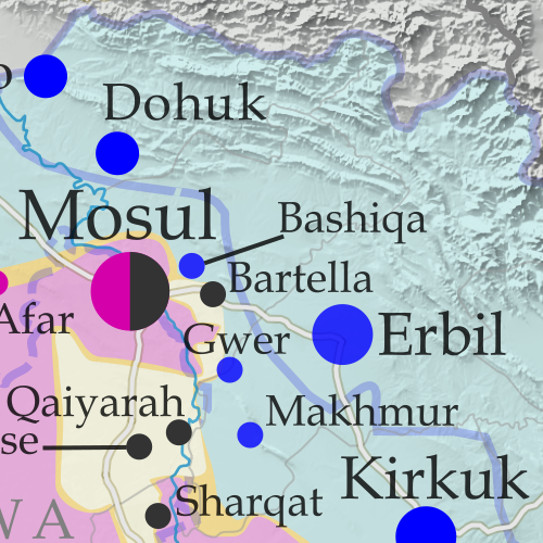 Detailed map of territorial control in Iraq as of November 4, 2016, including territory held by the so-called Islamic State (ISIS, ISIL), the Baghdad government, and the Kurdistan Peshmerga. Shows developments in the ongoing coalition battle to recapture the city of Mosul. Includes key locations from recent events, such as Bashiqa, Sharqat, and Bartella. Colorblind accessible.