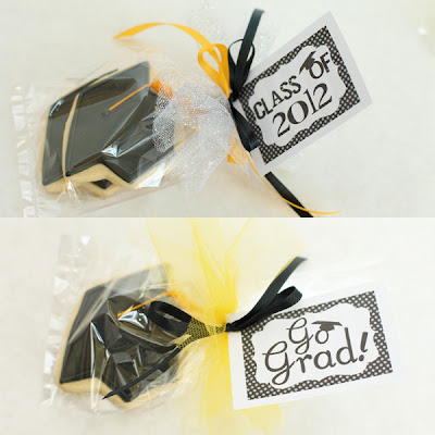 wappred graduation cookies with gift tag