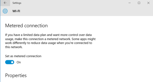 Metered Connection Windows 10
