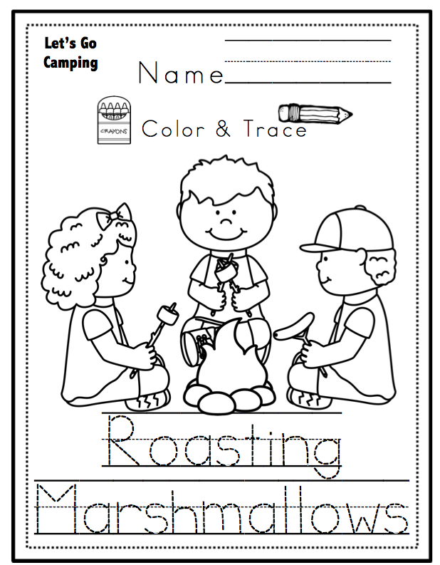 Let 39 s go camping printable no prep preschool printables for Camping coloring pages for preschoolers