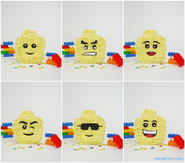 DIY Lego Inspired Party : How To Make a Lego Head Pinata - BirdsParty.com