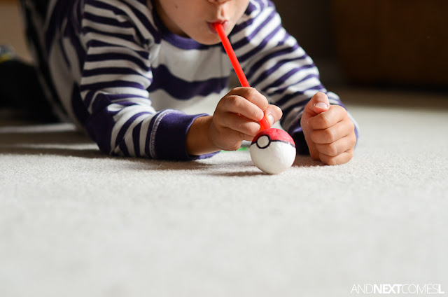 Pokemon activity for kids: straw races from And Next Comes L