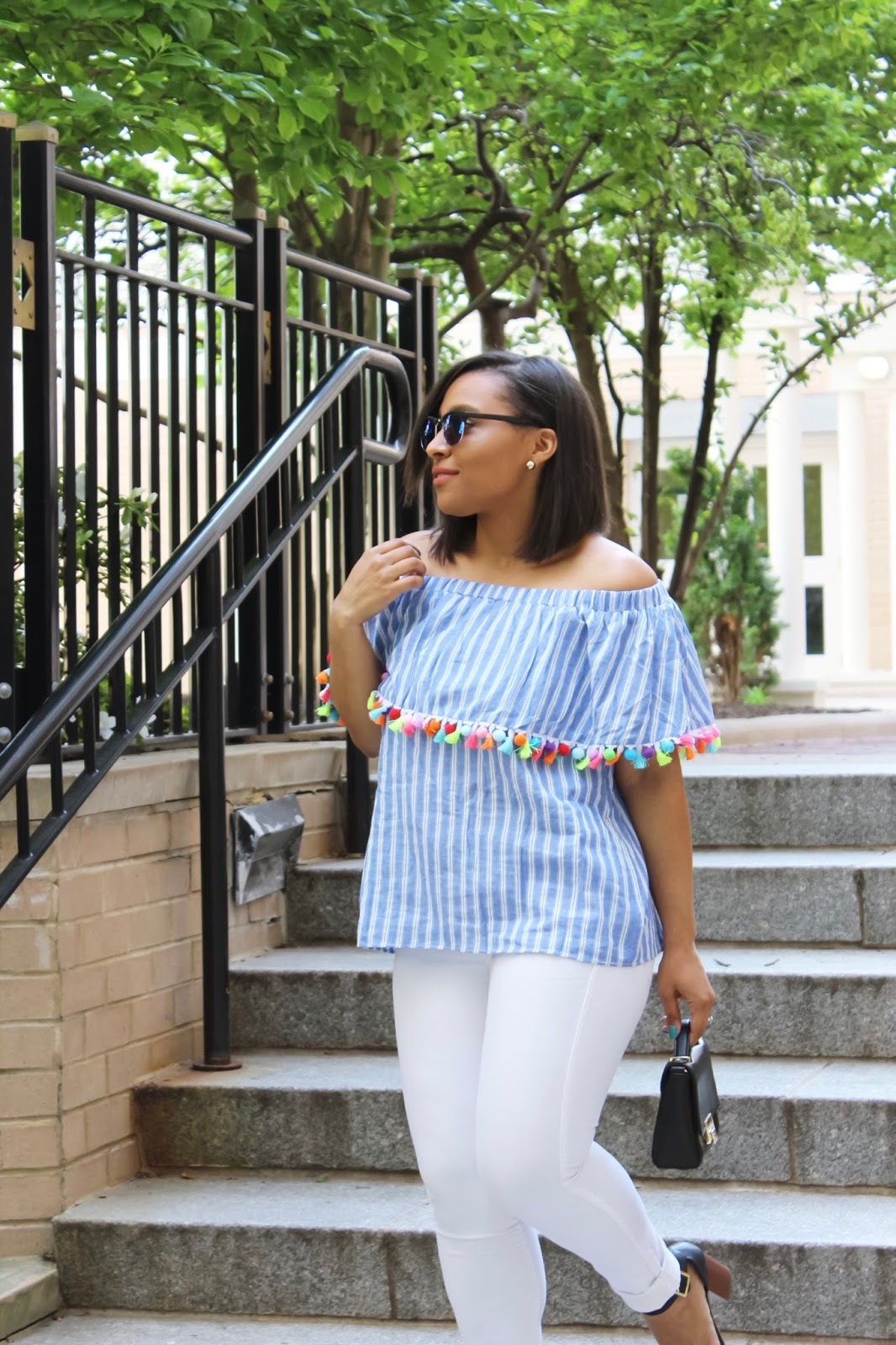 off the shoulder pom pom top, pom pom trend, straw hats, pom pom hat, summer hats, off the shoulder top, white denim, spring jeans, spring outfits, trending outfits, summer outfits