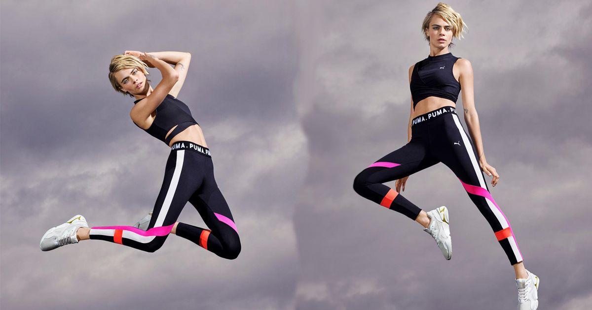 Cara Delevingne shows athletic torso for the PUMA Nova Pastel Grunge Campaign