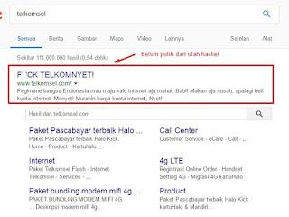 website resmi telkomsel di hack orang