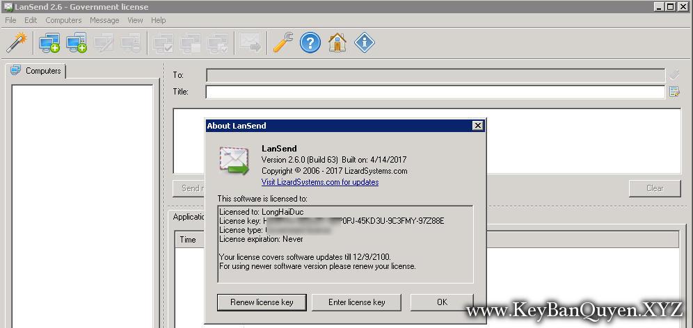 LizardSystems LanSend 2.6.0 Build 63 Full Key, Công cụ nhắn tin hàng loạt cho mạng LAN