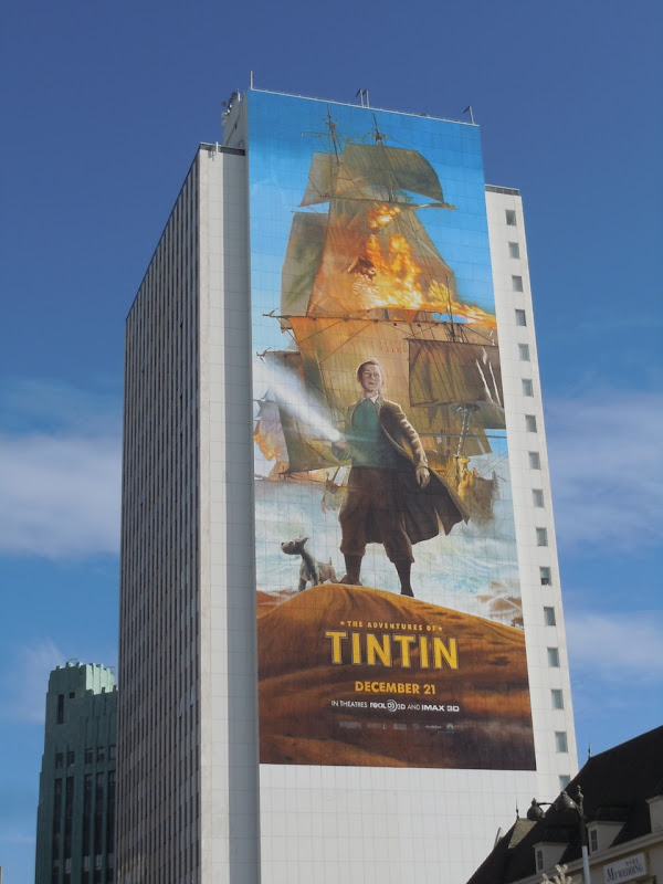 Giant Tintin movie billboard
