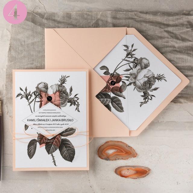 oryginalne zaproszenia slubne, tanie zaproszenia ślubne, motyw kwiatowy zaproszenia ślubne, brzoskwiniowa koperta ślubna, różna motyw ślubu