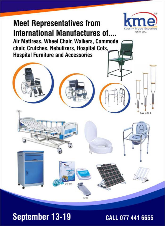 Meet Representatives from International Manufactures of Wheel Chairs, Hospital Furniture & Other Surgical Products.