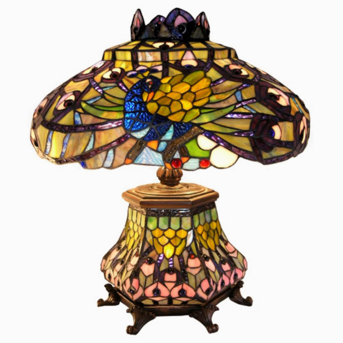 Tiffany Style Peacock Lantern Table Lamp ~ Luxury Light