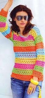 Tığ işi Renkli Bluz Modeli, Şemalı