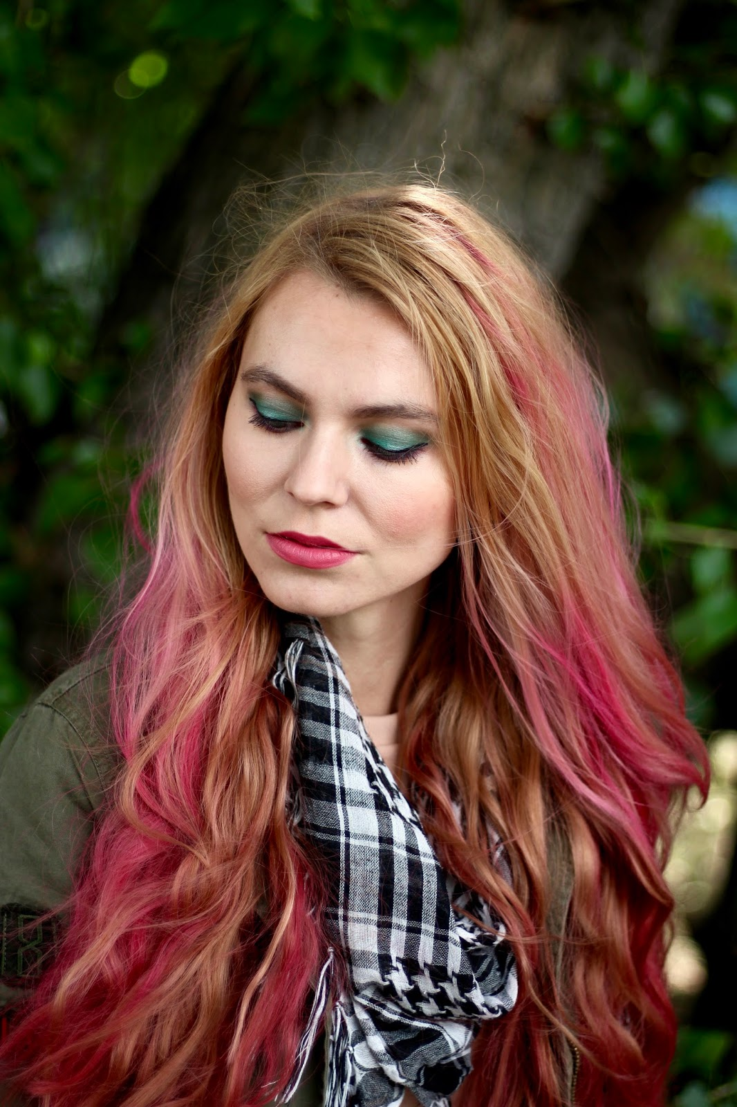 color make up, pink hair