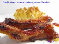 Costillas de cerdo con salsa Barbacoa y patatas Hasselback