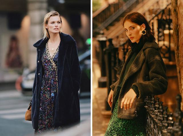 Девушки в черном и зеленом плюшевом пальто