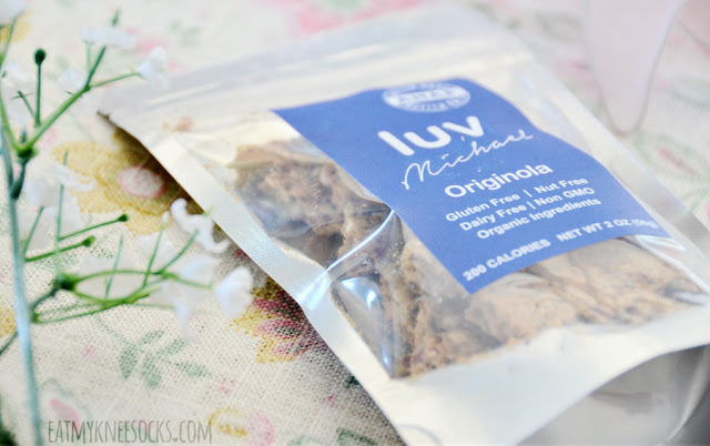 The Luv Michael Originola Granola is an all-natural, organic, gluten-free, non-GMO snack with all sorts of healthy ingredients, such as cranberries, rolled oats, chia seeds, flaxseed, and more.