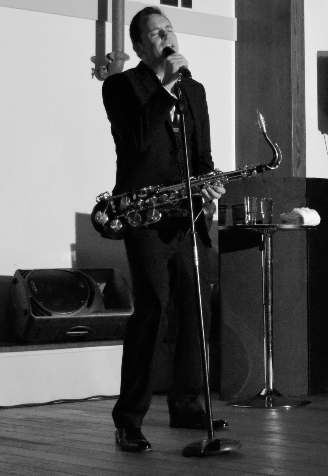 A grown-up date night at Doubletree by Hilton Newcastle Airport with a night of swing and sax with Jason Isaacs in the function room.  - jason singing