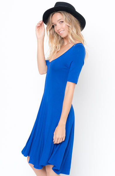 Buy Now royal blue Paneled Flared Dress Online $34 -@caralase.com