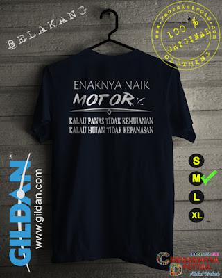 Baju Kaos Distro Enaknya Naik Motor Tulisan Putih Warna Biru Dongker